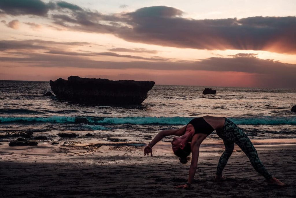 bali canggu yoga beach sunset